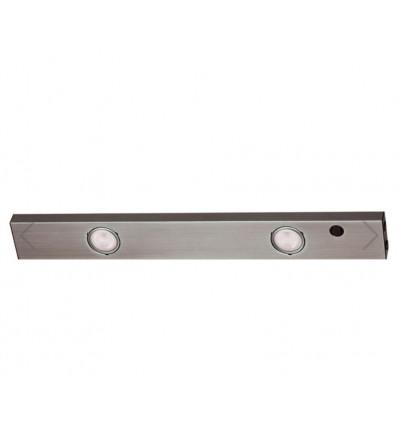 Réglette plate coloris aluminium équipée de 2 spots halogène - 55.3 cm - 2 x 20W -IP 21 + son bouton marche arrêt