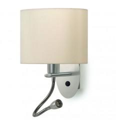 Applique OVAL-E27 60W+ liseuse felxible LED 3W - Coloris Nickel Satiné -IP20-abat jour ovale